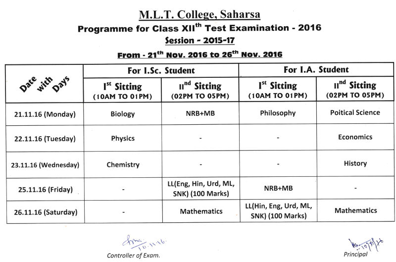 Programme for Class XIIth Test Examinatino 2016